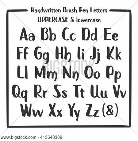 Handwritten Alphabet With English Characters On White Background. Marker Font. Handwritten Marker Pe
