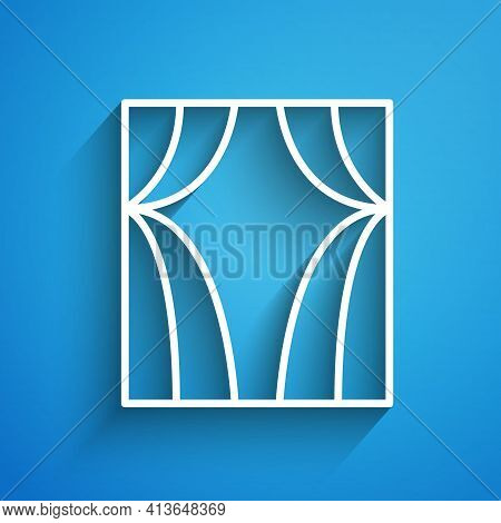 White Line Circus Curtain Raises Icon Isolated On Blue Background. For Theater Or Opera Scene Backdr