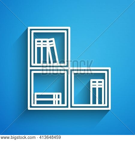 White Line Shelf With Books Icon Isolated On Blue Background. Shelves Sign. Long Shadow. Vector