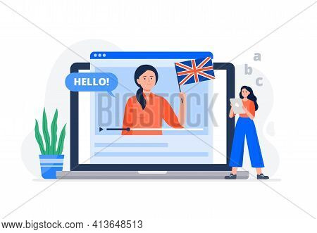 A Young Woman Studies Foreign Languages And Watches Video Lessons. Banner Or Background For A Site W