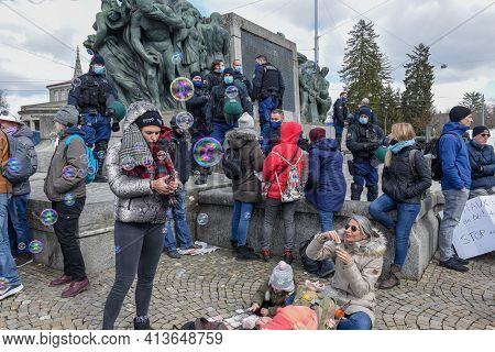 People On A Demonstration Against The Lockdown At Bern On Switzerland ..
