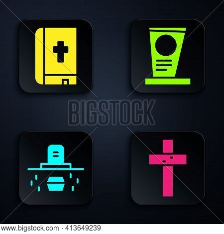 Set Christian Cross, Holy Bible Book, Grave With Coffin And Grave With Tombstone. Black Square Butto