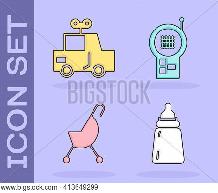 Set Baby Bottle, Toy Car, Baby Stroller And Baby Monitor Walkie Talkie Icon. Vector