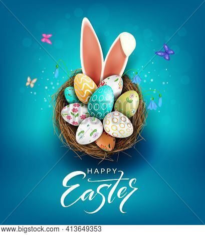 Easter Blue Illustration, Eggs In A Basket With A Beautiful Pattern, Bunny Ears, Snowdrops Flowers