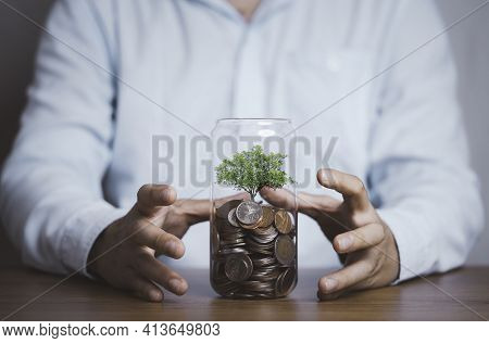 Businessman Protect Tree Which Growth Inside Saving Coins Jar , Save Money For Investment And Divide
