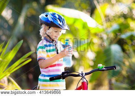 Kids On Bike. Child On Bicycle. Kid Cycling.