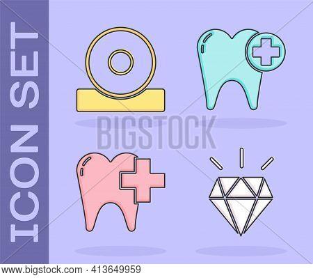 Set Diamond Teeth, Otolaryngological Head Reflector, Dental Clinic For Dental Care Tooth And Tooth I