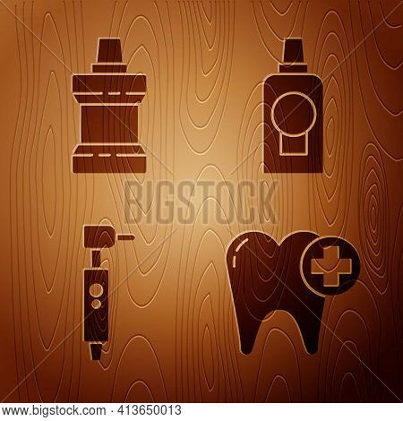 Set Tooth, Mouthwash Plastic Bottle, Tooth Drill And Mouthwash Plastic Bottle On Wooden Background.