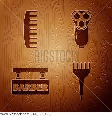 Set Hairbrush, Hairbrush, Barbershop And Electric Razor Blade For Men On Wooden Background. Vector