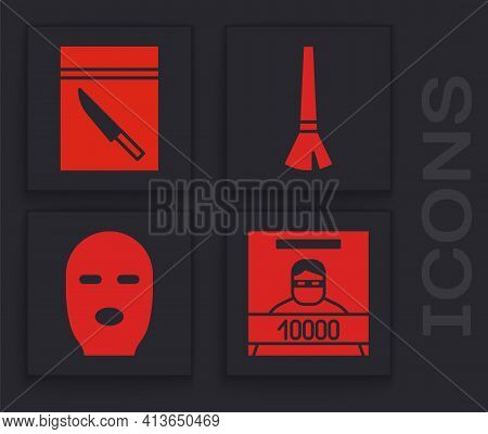 Set Wanted Poster, Evidence Bag And Knife, Paint Brush And Thief Mask Icon. Vector