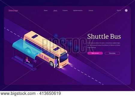A Shuttle Bus Isometric Landing Page, Transport