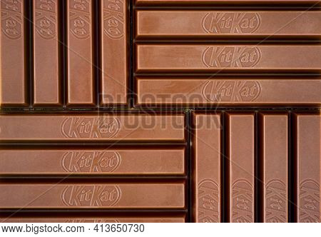 Tambov, Russian Federation - March 19, 2021 Kitkat Chocolate Bars Background. Full Frame.