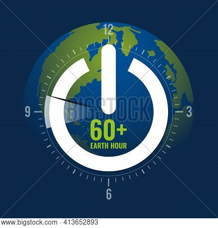 60plus Earth Hour - White Shutdown Sign And Circle Time Scale Clock With Pin 8.30 Pm To 9.30 Pm On G