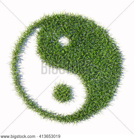 Concept or conceptual green summer lawn grass isolated on white background, sign of chinese symbol of Yin-Yang, opposing and complementary. 3d illustration metaphor for taoism, meditation and balance