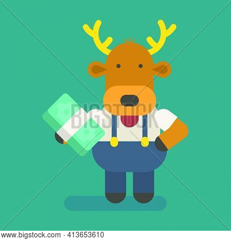 Funny Character Deer Holding Wad Money. Vector Character. Vector Illustration