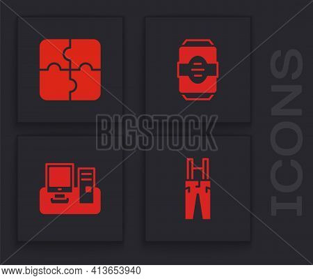 Set Pants With Suspenders, Piece Of Puzzle, Energy Drink And Monitor Keyboard Icon. Vector