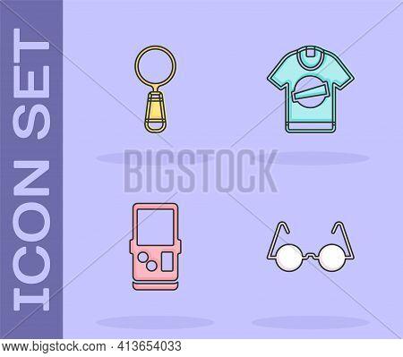 Set Eyeglasses, Magnifying, Tetris And T-shirt Icon. Vector