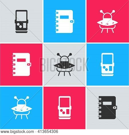 Set Tetris, Spiral Notebook And Ufo Flying Spaceship Icon. Vector