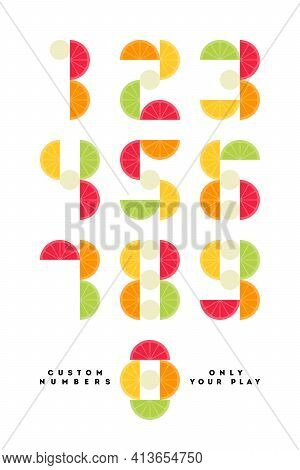 Playful Numeral Symbols With Citrus Fruits. Number Font - Only Your Play. Cool Vector Typographic Wi