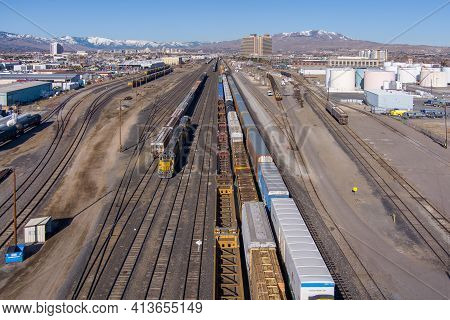 Sparks, Nevada Usa - March 21, 2021: Aerial View Of The Sparks, Nevada Industrial Area Facing West,