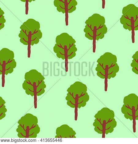 Vector Seamless Pattern With Green Deciduous Trees. Brown Trunk. Green Background. Cartoon Style. Sp