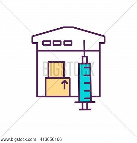 Vaccine Distribution Rgb Color Icon. Receiving First Dose. Delivery Process. Immune Response Stimula