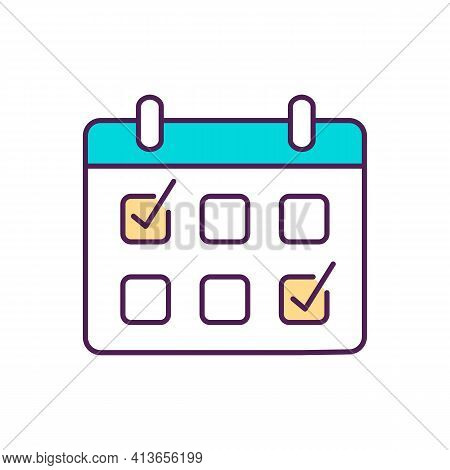 Agenda Rgb Color Icon. Arranged, Planned Meeting And Event On Schedule. Calendar For Tracking Daily
