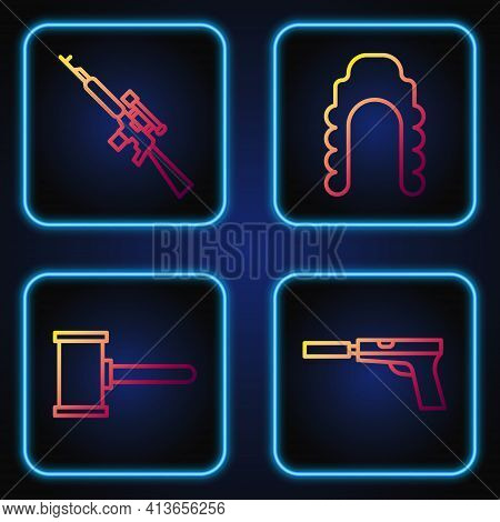 Set Line Pistol Or Gun With Silencer, Judge Gavel, Sniper Rifle With Scope And Judge Wig. Gradient C