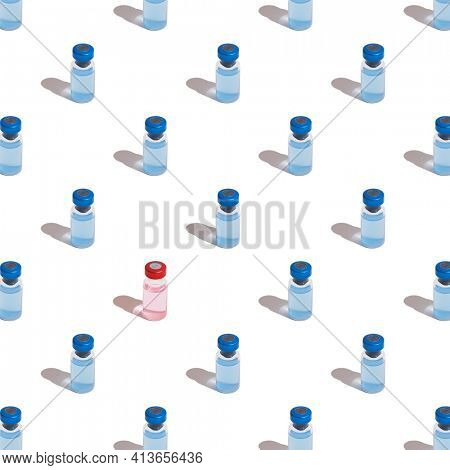 Seamless pattern of vaccine vials against Covid-19 with blue injection fluid. Coronavirus vaccine concept. The pattern is broken by a red vaccine.