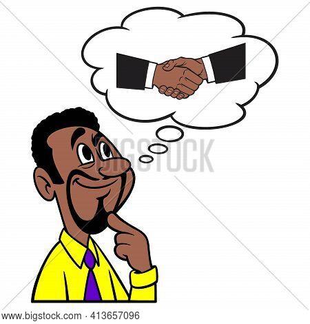 Man Thinking About An Agreement - A Cartoon Illustration Of A Man Thinking About An Agreement.