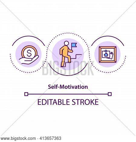 Self-motivation Concept Icon. Taking Initiatives And Actions Idea Thin Line Illustration. Pursue Goa
