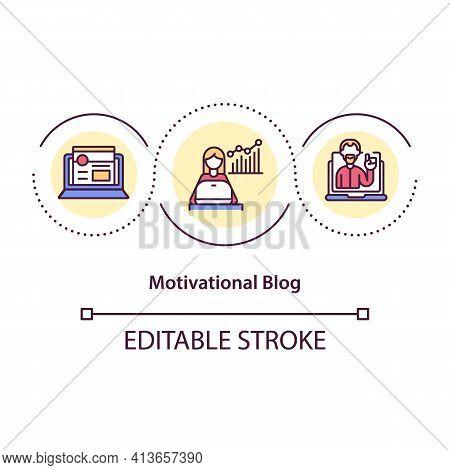 Motivational Blog Concept Icon. Inspiration In Social Network Idea Thin Line Illustration. Developme