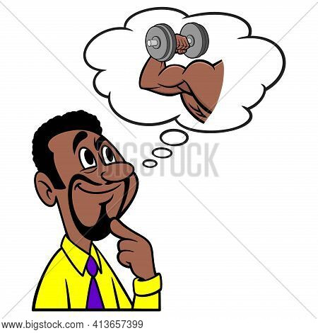 Man Thinking About Bodybuilding - A Cartoon Illustration Of A Man Thinking About Lifting Weights And