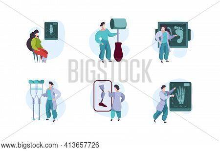 Orthopedics Concept. Human Arms Xray Diagnose Doctor And Patients Healthcare Templates Garish Vector
