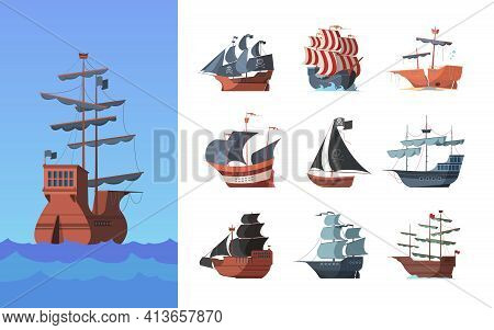 Pirate Boats. Old Shipping Sails Traditional Vessel Pirate Symbols Garish Vector Illustrations Colle