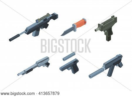 Isometric Weapons. Automatic Gun Arms For Warriors Modern Soldiers Equipment For Explosions Garish V