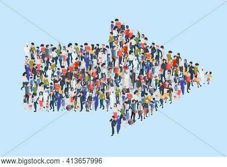 Crowd Arrow. Success People Walking In Direction Arrow Shapes Large Growing Group Of Persons Garish