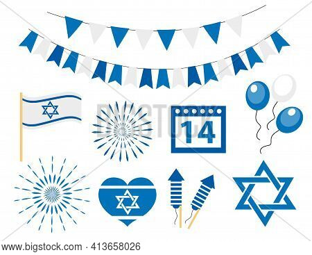 Happy Israel Independence Day Icons Set. Jewish Holiday, Flag, Bunting, Star Of David, Fireworks. Ve