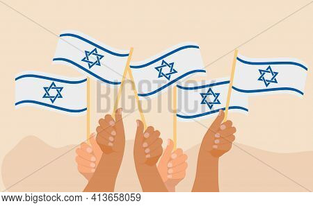 Happy Israel Independence Day Banner, Hands Hold Israel Flag. Jewish National Holidays. Vector Illus
