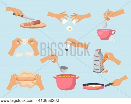Preparing Food. Cooking Processes Hands With Kitchen Utensils Preparing Products Fish Soup Cakes Sal