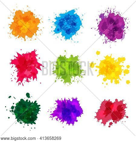 Paint Splashes. Colored Backdrop Abstract Splatter Graphics Ink Yellow Blue Green Magenta Recent Vec