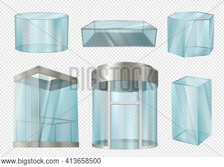 Glass Cylinders. Transparent Showcases Stands In Various Forms Cylinder Cube Blank Elevator In Mall.