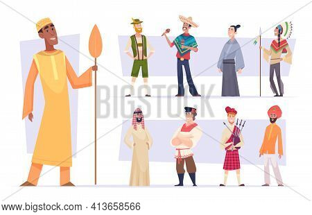 Ethnic Groups. Funny People In Different Nationalities In Ethnic Clothes Exact Vector Illustrations
