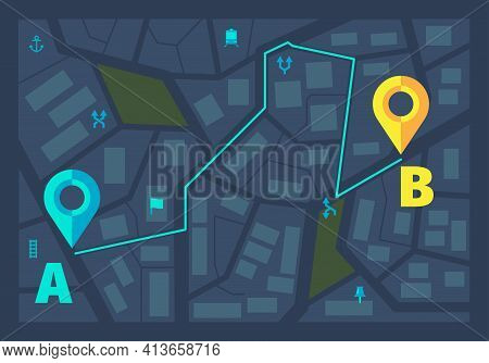 Gps Ui Dark Theme. Gps City Tracking Maps Route Line With Pin Markers Geography Modern Infographic F