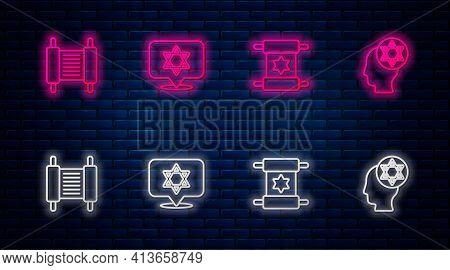 Set Line Star Of David, Torah Scroll, And Orthodox Jewish Hat. Glowing Neon Icon On Brick Wall. Vect