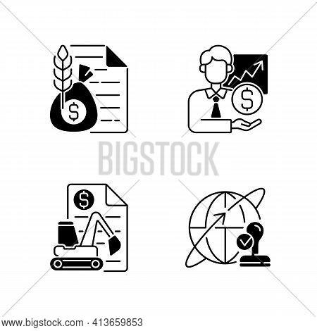 Intermediary Services Black Linear Icons Set. Commodity Broker. Sponsorship, Stock Trading. Equipmen