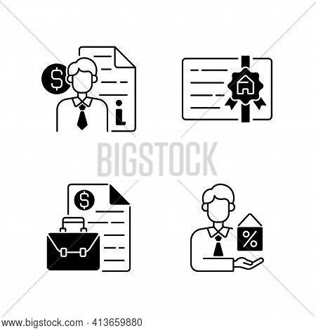 Broker Black Linear Icons Set. Finance Advisor Consultation. Broker License. Business Management, Co