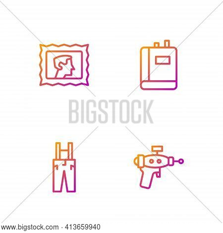 Set Line Ray Gun, Pants With Suspenders, Postal Stamp And Book. Gradient Color Icons. Vector