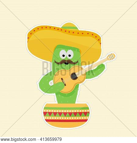 Сactus In A Sombrero With A Guitar In A Pot. Picture With A White Outline On A Yellow Background