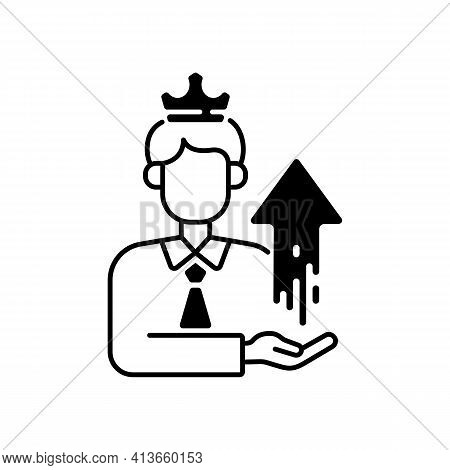 Power Broker Black Linear Icon. Increase Influence From Assistance. Gain Patronage, Increase Privile